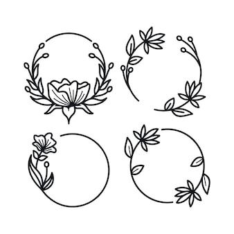 白で隔離のエレガントな花のフレームのセット