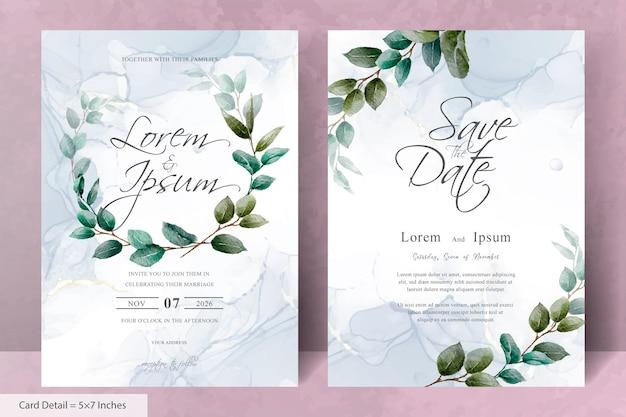 緑の手描きの葉とエレガントな花のフレームの結婚式の招待状のテンプレートのセット