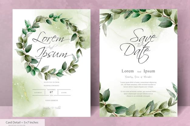 Набор элегантных цветочных рамок свадебного приглашения шаблон с зеленью рисованной листья