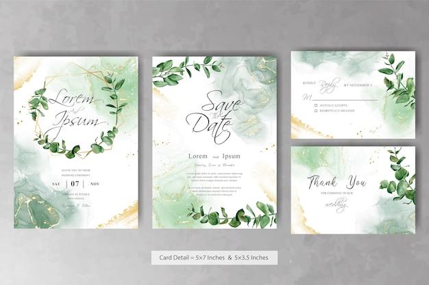 エレガントな花とユーカリのフレームの結婚式の招待カードテンプレートのセット