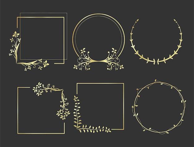 Набор элегантных золотых рамок