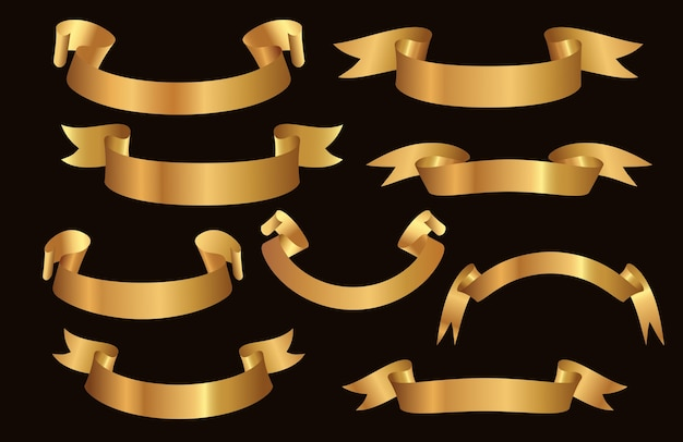 Набор элегантных золотых лент на черном фоне.