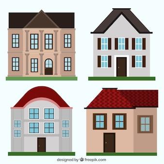 Набор элегантных домов в плоском дизайне