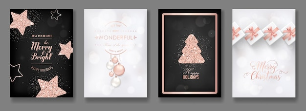 Набор элегантных поздравительных открыток с рождеством и новым годом 2019 с блестящими рождественскими шарами из розового золота, звездами, снежинками для приветствия, приглашения, флаера, брошюры, обложки в векторе
