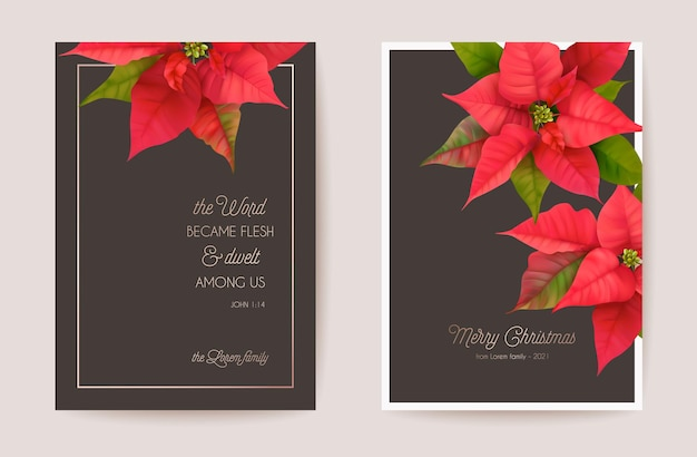 포인세티아 현실적인 꽃, 꽃 화환과 우아한 메리 크리스마스와 새 해 카드의 세트. 인사말, 초대장, 전단지, 브로셔, 벡터 표지 겨울 3d 식물 디자인 그림