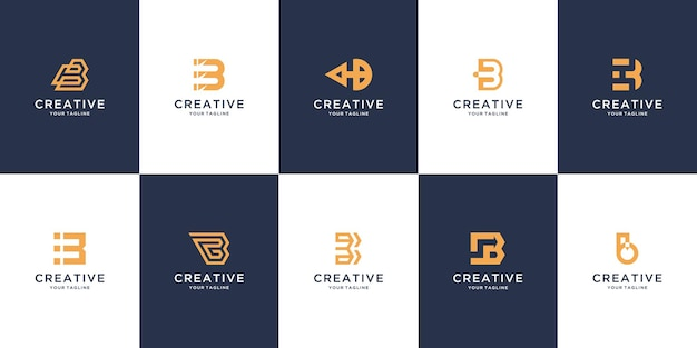 エレガントなモノグラム文字bロゴデザインのセット