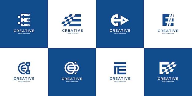 エレガントなモノグラム文字eロゴデザインのセット