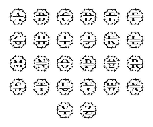 エレガントなパーソナライズされたモノグラム、花輪の文字のセット。ベクトルクリップアート。