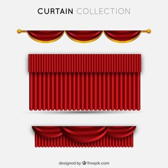 Набор элегантных красных театральных занавесов