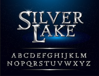Set of Elegant Silver Colored Metal Chrome alphabet font