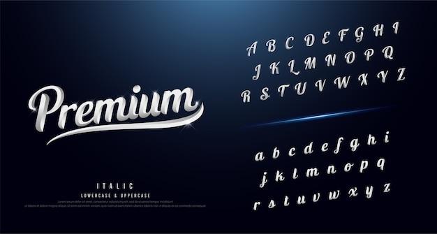 우아한 실버 컬러 메탈 크롬 알파벳 글꼴 세트
