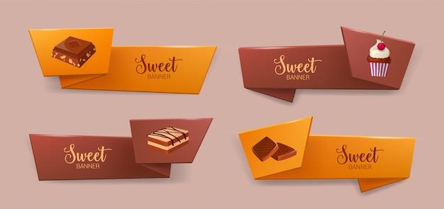 Набор элегантных ленточных или ленточных баннеров с вкусными десертами или вкусными сладкими блюдами - печенье, шоколад, кекс