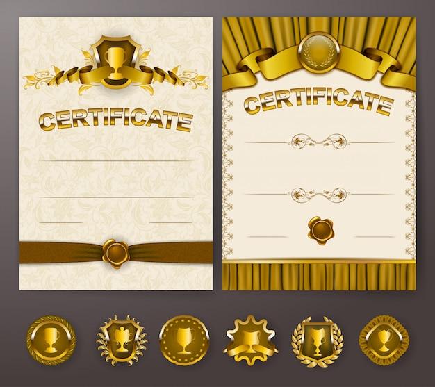 レース飾りと卒業証書のエレガントなテンプレートのセット