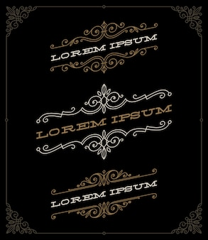 Набор элегантных старинных декоративных эмблем и шаблонов логотипов - иллюстрации.