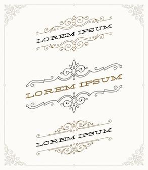 エレガントなヴィンテージの装飾用のエンブレムとロゴのテンプレートのセット。