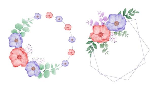 화려한 꽃과 우아한 수채화 꽃 프레임 세트