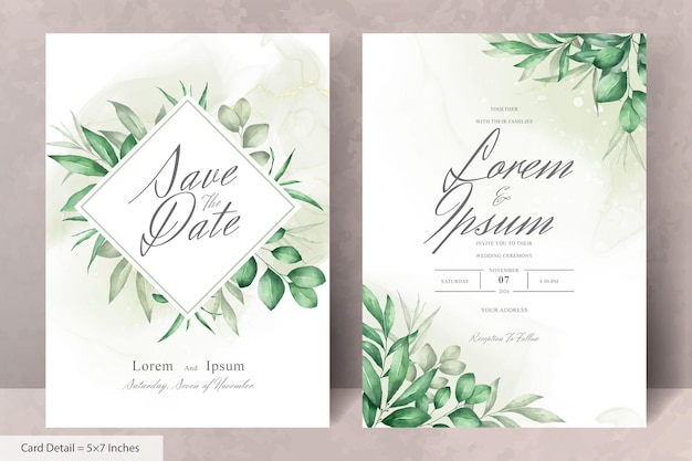 손으로 그린 꽃과 우아한 수채화 결혼식 초대 카드 서식 파일의 집합