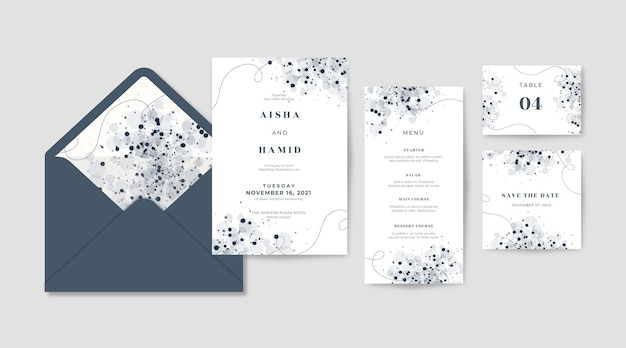 エレガントな結婚式の招待状のテンプレートのセット