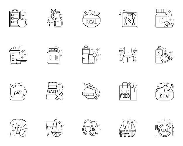 Набор элементов набросков диеты иконы