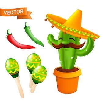 Набор элементов и иконок к празднику синко де майо 5 мая - мексиканский кактус с усами в шляпе сомбреро, красный и зеленый перец чили, маракасы. иллюстрации шаржа