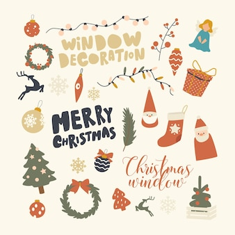 Набор элементов рождественские украшения тема
