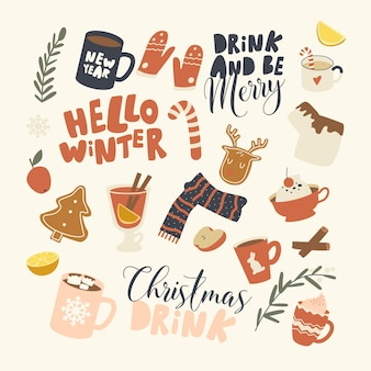 Набор элементов рождественские напитки тема