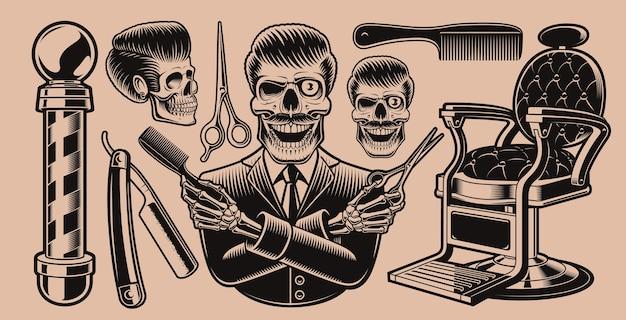 暗い背景に理髪店のテーマの要素のセット。これらのイラストは、アパレルデザイン、ロゴ、および他の多くの用途に最適です。