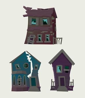 住宅、カフェ、ホテル、銀行のある都市の要素のセット。フラットスタイルのベクトル図