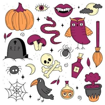 할로윈 요소 집합입니다. 신비로운 무서운 물건. 고양이, 호박, 유령, 물약. 낙서 스타일의 그림