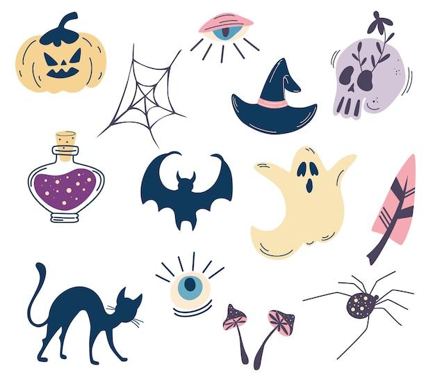 Набор элементов для хэллоуина. черепа, зелье, паук, кот, призрак, глаз, гриб, летучая мышь. хэллоуин клипарты с традиционными символами. идеально подходит для приглашения на вечеринку, поздравительной открытки, плаката. вектор