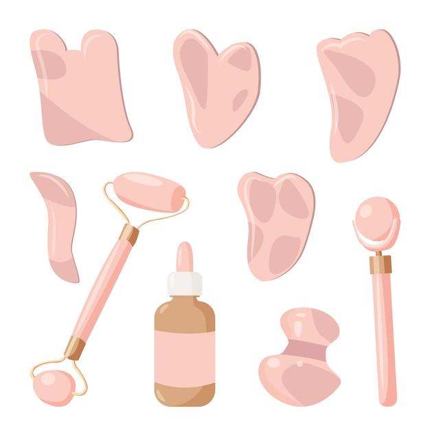 自宅で美容マッサージグアシャを実行するための要素のセット。スキンケア、美容コンセプト。