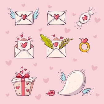 ハートとピンクの背景に落書きスタイルの聖バレンタインデーの要素のセット