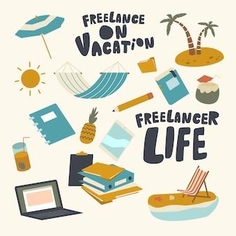 Набор элементов фрилансер на тему отпуска. гамак, ноутбук, папки с документами и ананас с зонтиком