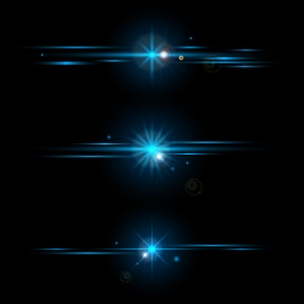 分離された輝く青い光の効果コレクションの要素のセット