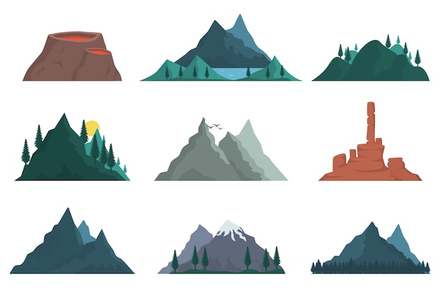 山の自然のシルエットの要素のセット。様々な山々がたくさん。自然の風景、火山、丘の頂上、氷山、山脈、マウンド。屋外旅行、冒険、観光。
