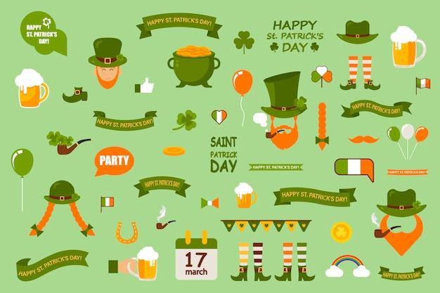 Набор элементов на зеленом фоне. день святого патрика отмечают в ирландии. набор шаблонов тематических элементов.