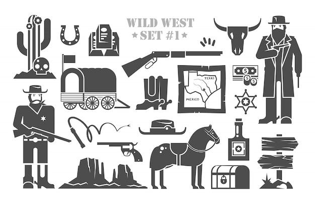 野生の西をテーマにした要素のセット。カウボーイ。野生の西での生活。アメリカの発展。パート1。