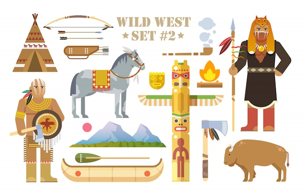Набор элементов на тему дикого запада. индейцы северной америки. жизнь коренных американцев. развитие америки. современный плоский стиль. часть вторая.