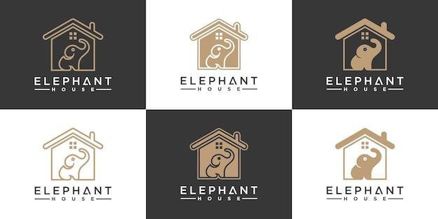 家と象の形を組み合わせた象の家のロゴデザインのセットプレミアムvektor