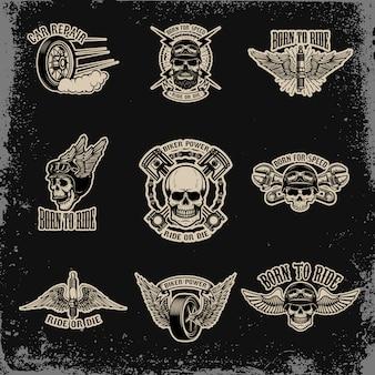 バイカークラブのエンブレムのセットです。自動車修理。ロゴ、ラベル、サイン、バッジ。図