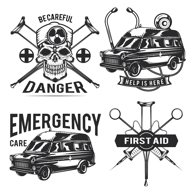 Набор аварийных эмблем, этикеток, значков, логотипов.