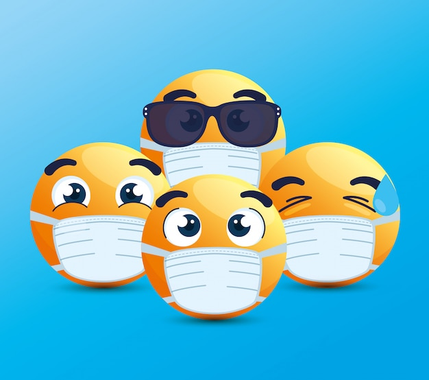 Набор смайликов в медицинской маске, желтые лица с белыми хирургическими масками, иконки для вспышки коронавируса
