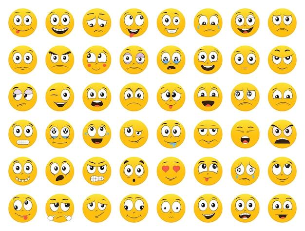Набор смайликов. emoji. улыбка. изолированная иллюстрация на белом фоне