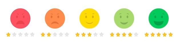 フラットなデザインの絵文字星評価フィードバックのセット