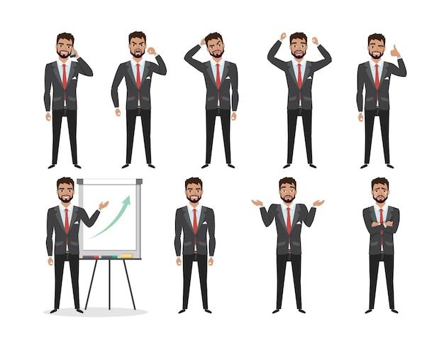 ビジネスマンのための感情とポーズのセット。漫画スタイルの男性は、さまざまな感情を経験します。