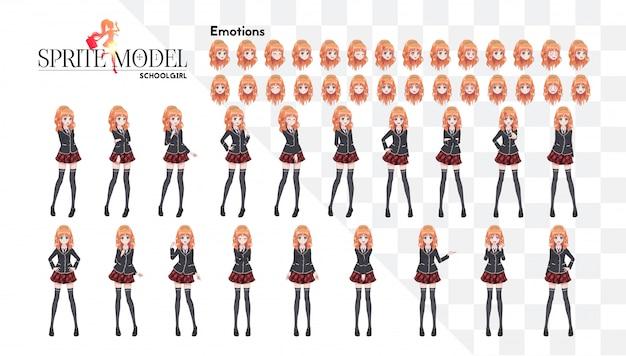 Набор эмоций. спрайт полнометражного персонажа для игрового визуального романа. аниме манга девушка, мультипликационный персонаж в японском стиле. в белую рубашку, красную юбку в клетку, галстук и черные чулки-колготки
