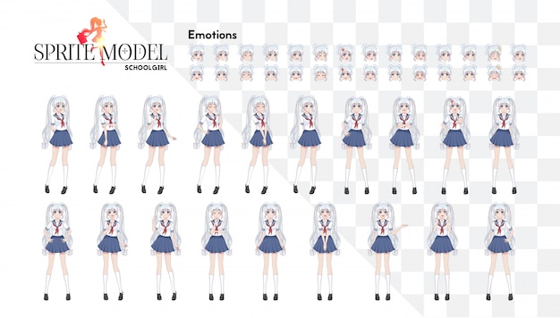 Набор эмоций. природный полнометражный персонаж для игрового визуального романа. аниме-манга, мультипликационный персонаж в японском стиле. школьница в матросском костюме, голубая юбка