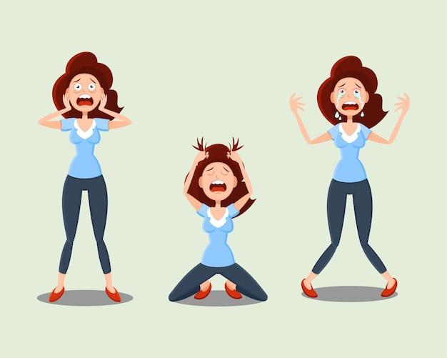 감정의 집합. 여성은 두려움, 공포, 우울증, 슬픔, 스트레스를 경험하고 있습니다.
