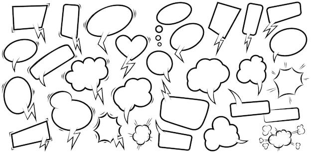 빈 만화 연설 거품의 집합입니다. 포스터, 티셔츠, 상징, 기호, 레이블, 배너, 전단지 디자인 요소입니다. 벡터 일러스트 레이 션
