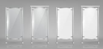 Set of empty glass banners on metal racks, transparent and white displays